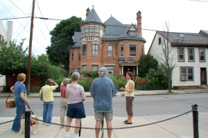 Walking tour in front of the Gage Mansion, Huntingdon, PA